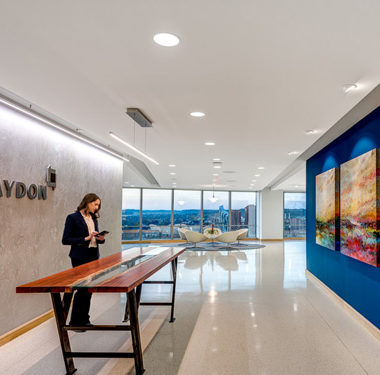 "Hixson""s client Graydon sleek designed lobby"
