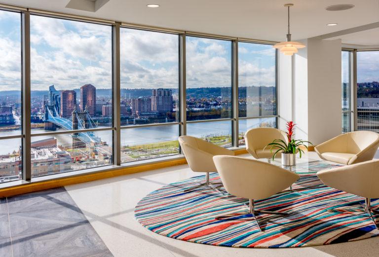 Graydon's sleek designed lobby with city views